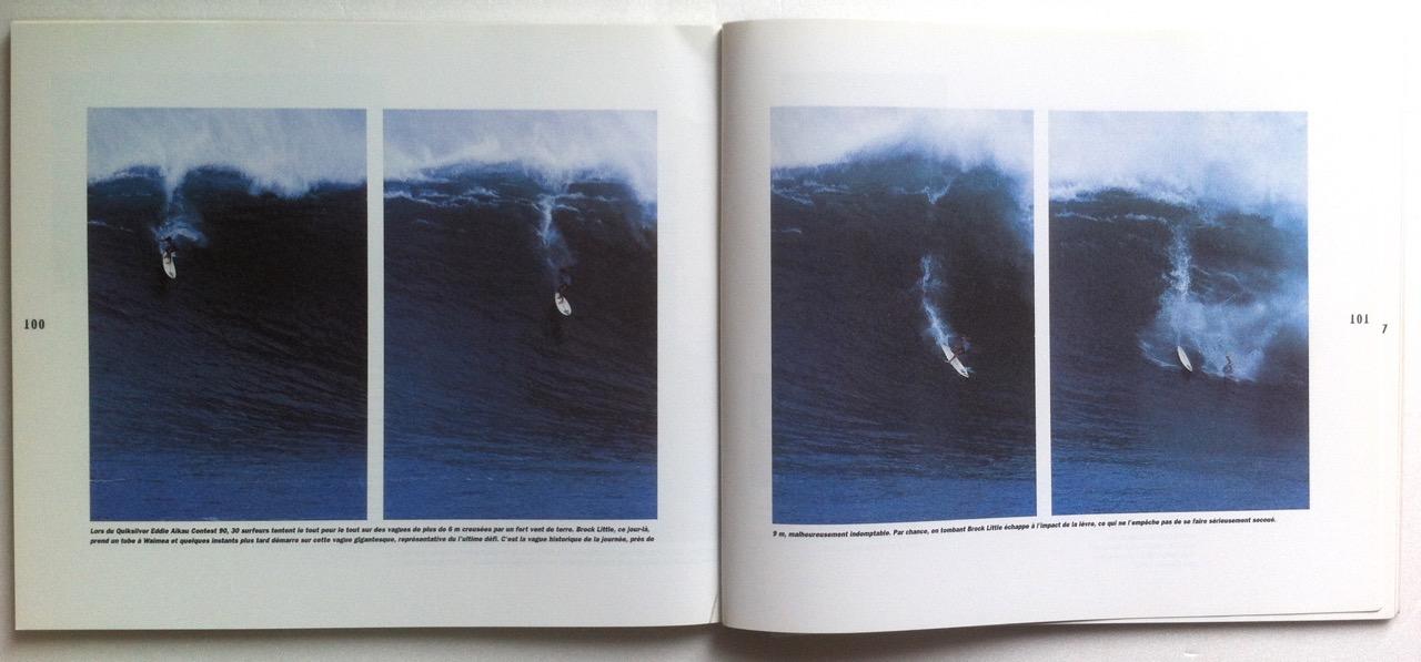 Brock Little lors de sa vague légendaire, considérée alors comme la plus grosse jamais surfée, pendant l'Eddie Aikau 1990. (Extrait de L'homme et la vague, photos S. Cazenave)